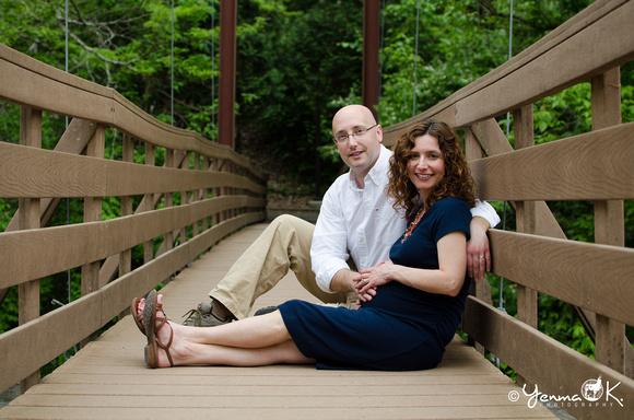 Couple Pose on a Walking Bridge Messiah College