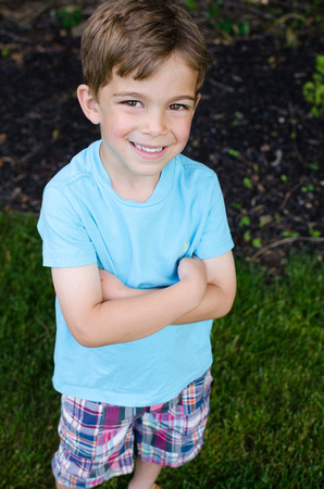 Outdoor portrait of a four year old boy