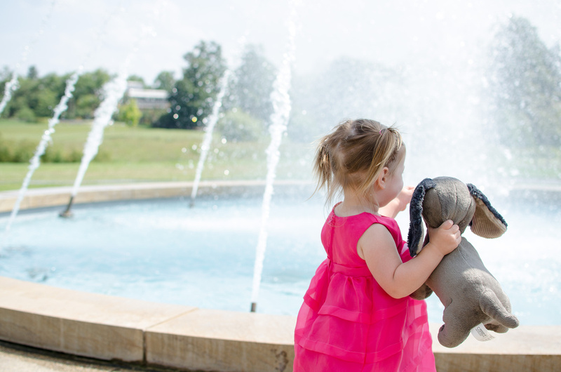 Two year old shows her stuffed dog the fountains