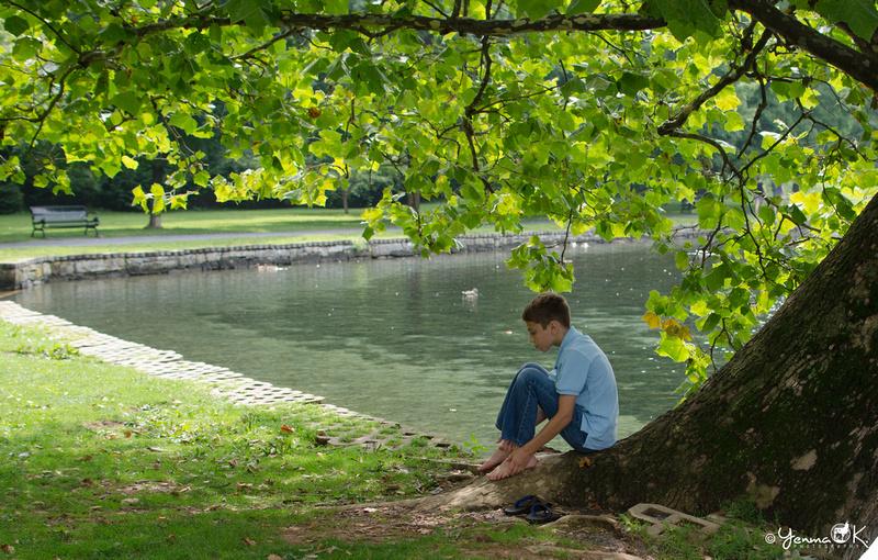 A boy enjoying a summer day.