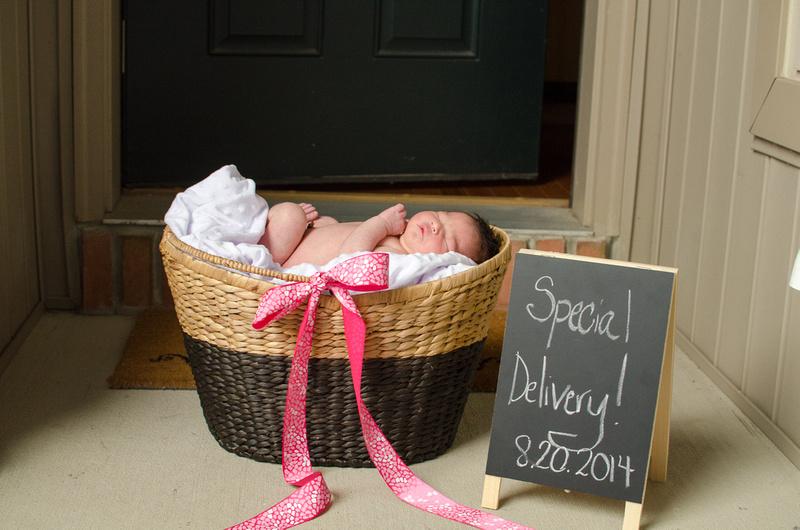 Newborn baby girl born in August