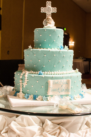 Baptism Cake with a Cross Cake Topper