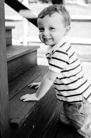 One year old black and white portrait