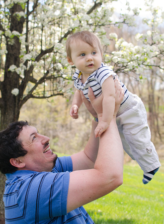 Son and Father Outdoor Spring Portrait