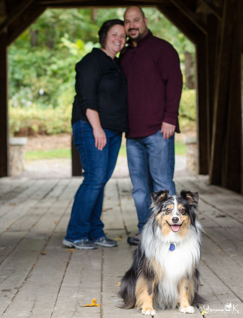 Family portrait with Australian Shepherd