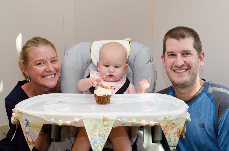 Family of Three at Daughter's One Year Old Party