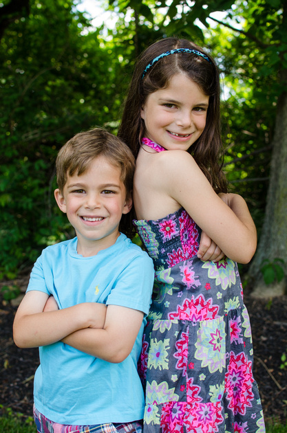 Outdoor portrait of a brother and sister.