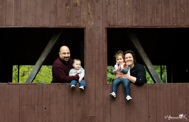 Family Portrait on a Covered Bridge