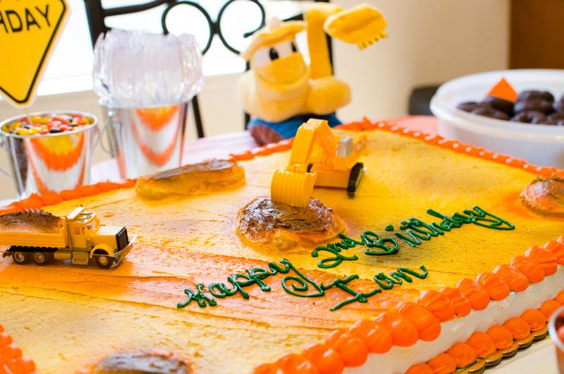 Bulldozers and Dump Trucks Birthday Cake