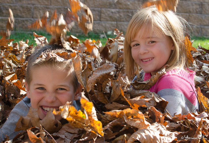 Sibling Portrait Pose in a pile of Leaves