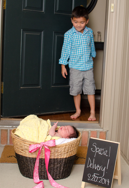 Baby brother meets baby sister in newborn photography Central Pennsylvania