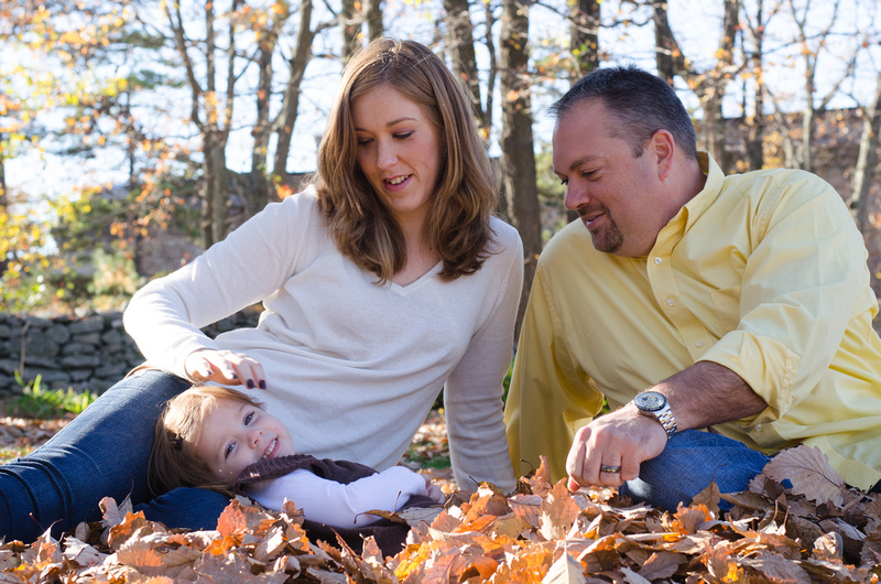 Family Portrait in leaves at the Kings Gap Mansion
