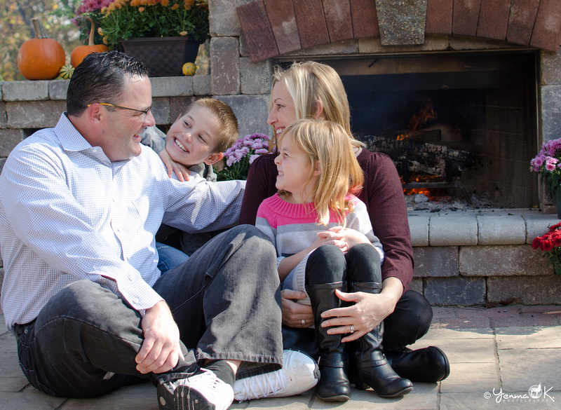 Autumn Themed Family Portrait in front of the fireplace