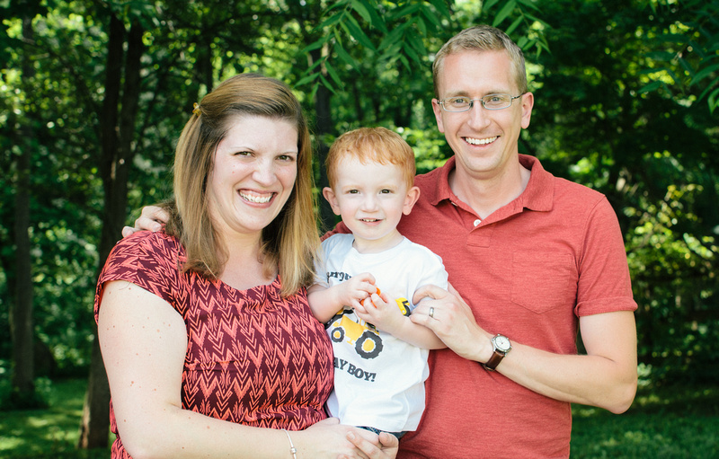 Family of three celebrating a birthday