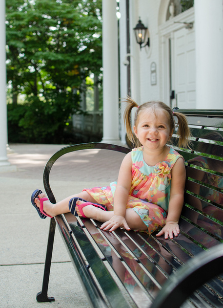 Two year old portrait by the Nittany Lion Inn